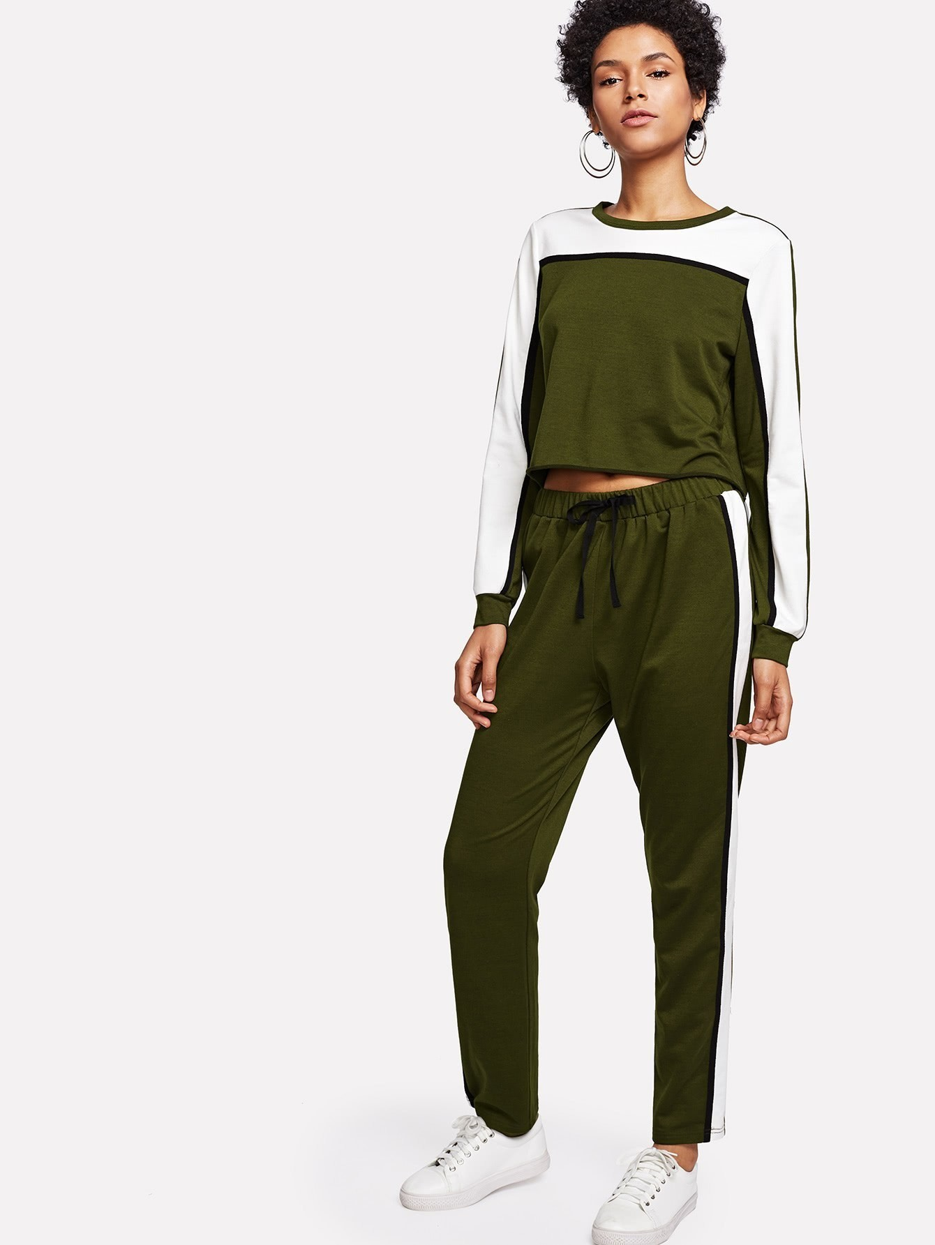 Two Tone Crop Pullover & Sweatpants Set two tone drop shoulder sweatshirt