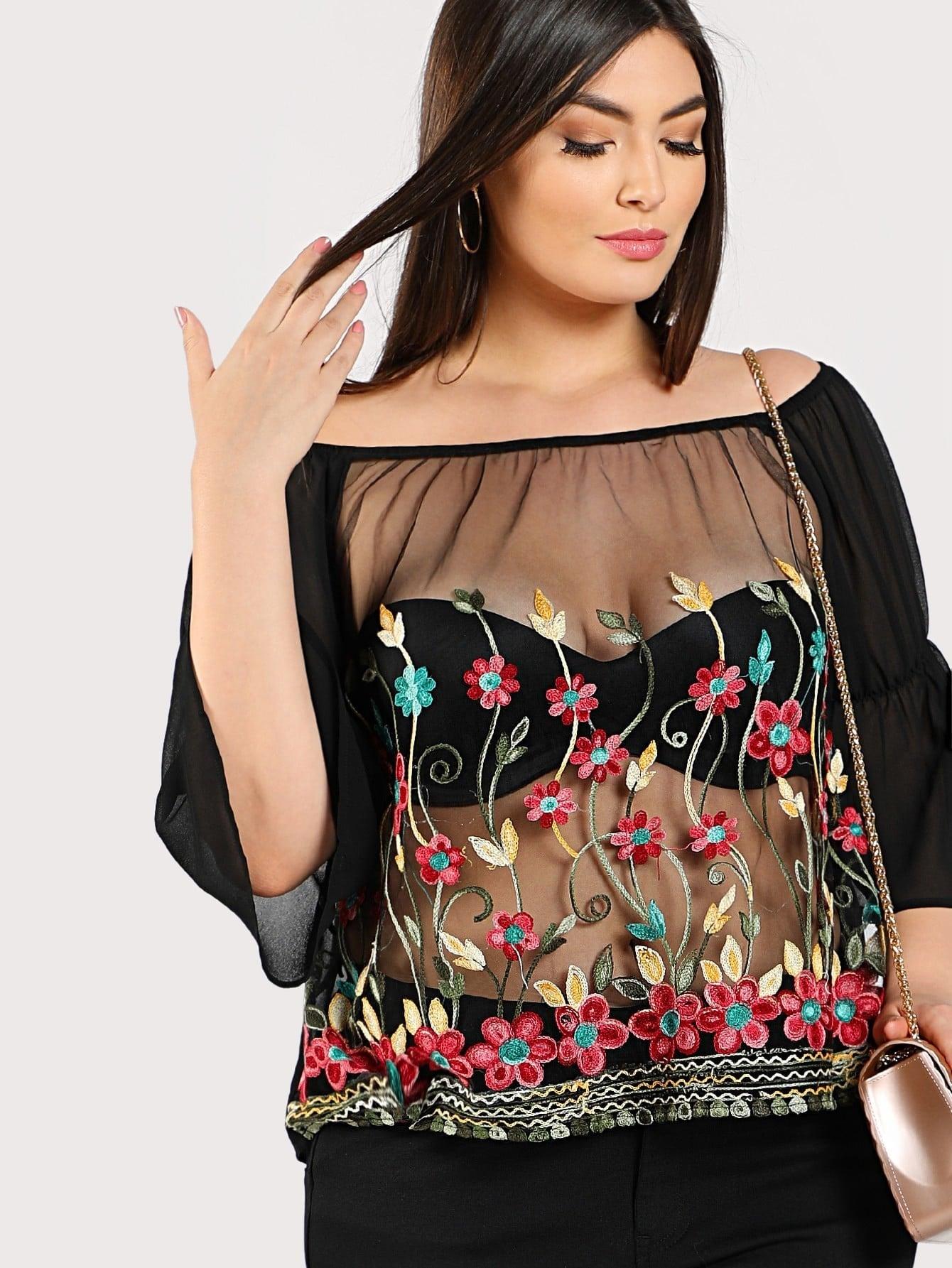 Купить Модный топ с вышивкой и открытыми плечами, рукав клёш, Elisa Krug, SheIn