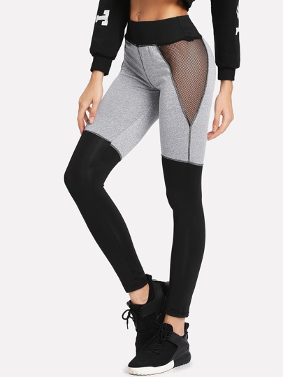 Leggins panel con malla en contraste de color block