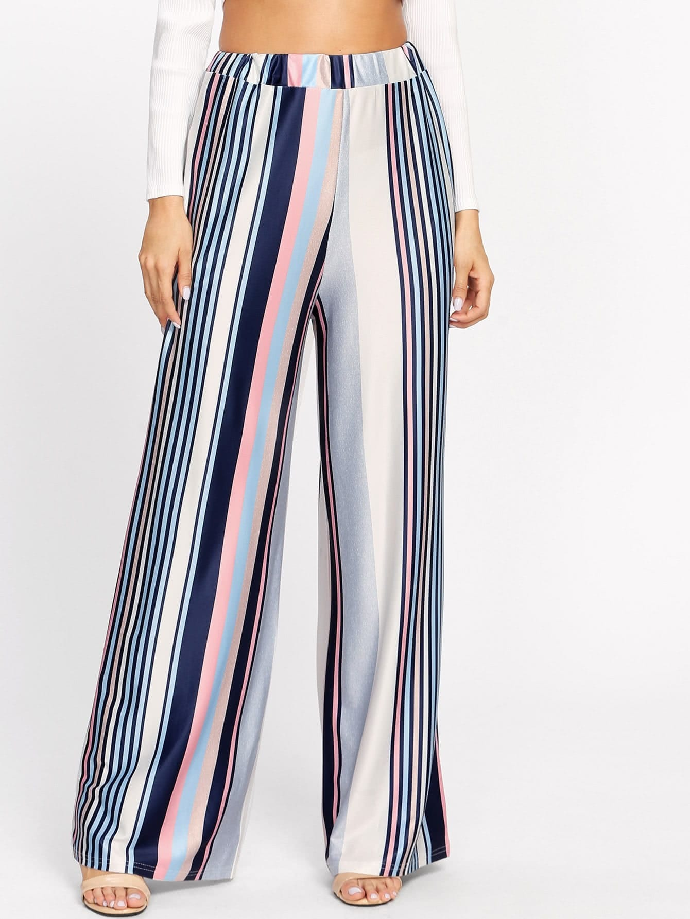 Image of Barcode Stripe Wide Leg Pants