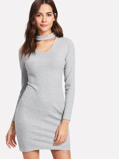 V Cut Neck Zip Up Back Knit Dress
