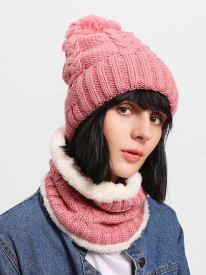 Pom Pom Knit Beanie Hat With Scarf