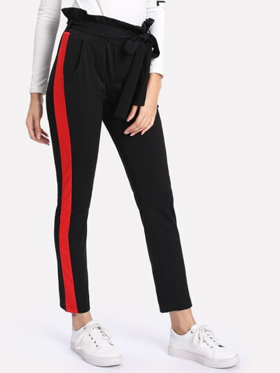 Contrast Panel Side Self Tie Waist Pants