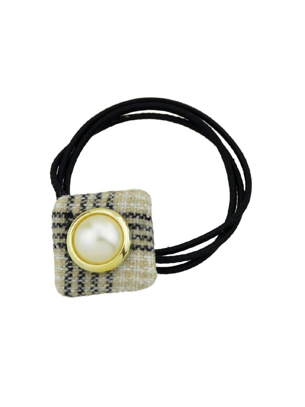 Image of Beige Simulated-Pearl Colorful Square Cloth Headbands Headwear