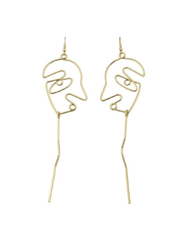 Gold Face Shape Statement Drop Earrings For Women two tone face design drop earrings