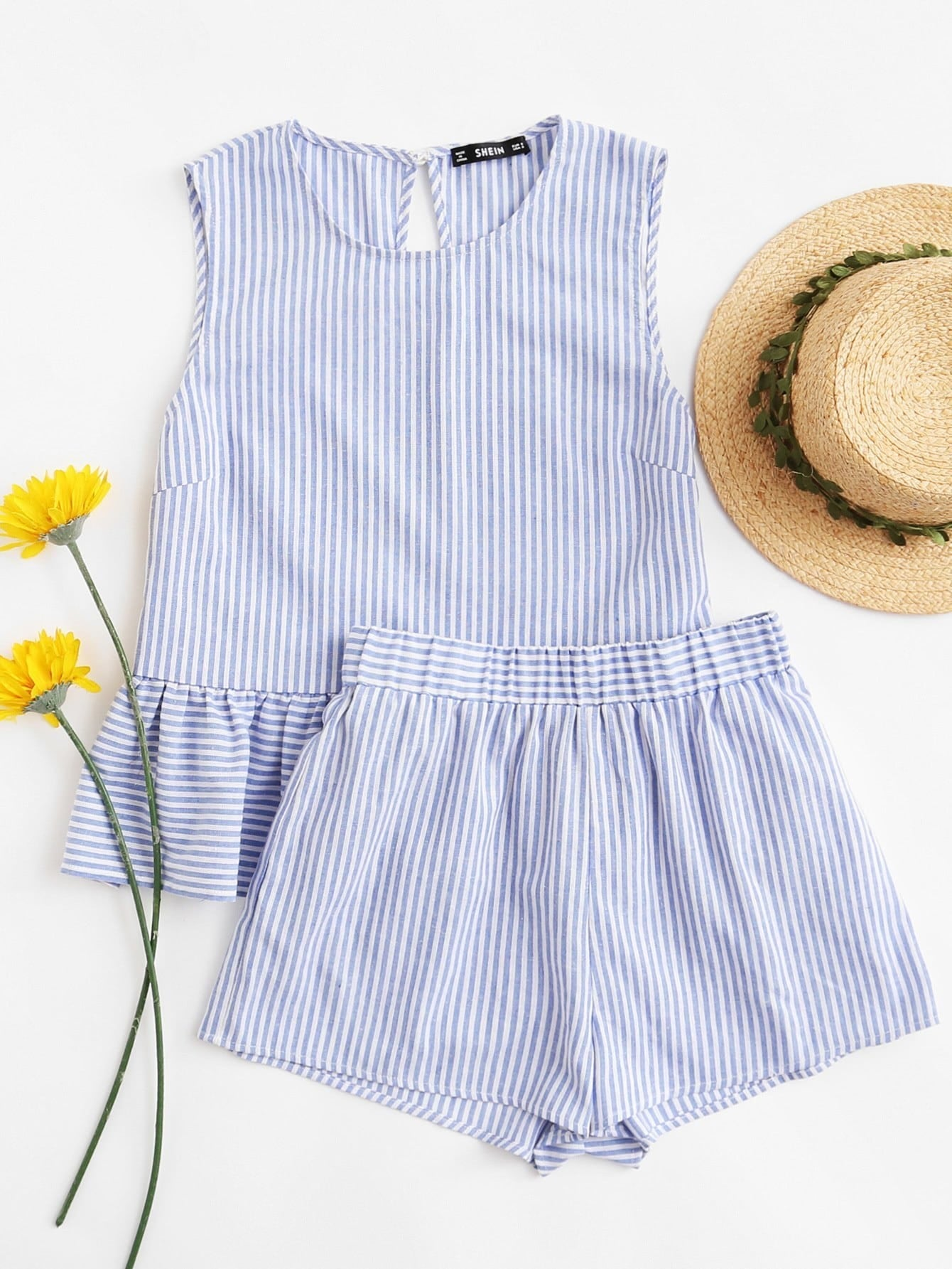Ruffle Hem Striped Crop Top With Shorts Set sweet wavy hem design striped shorts for women