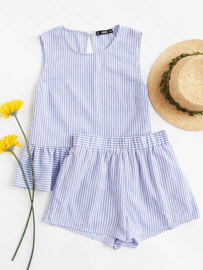 Ruffle Hem Striped Crop Top With Shorts Set