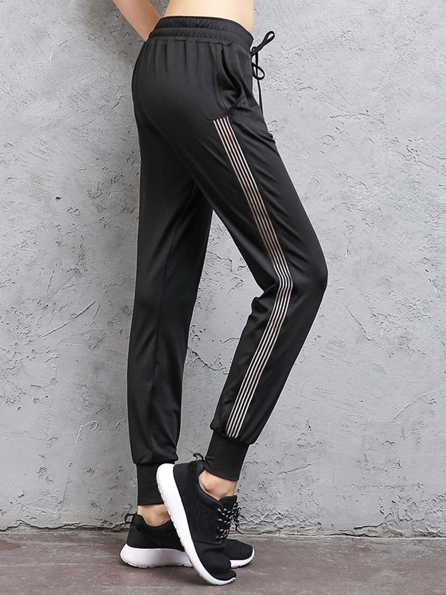 Contrast Striped Side Drawstring Sweatpants