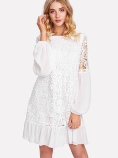 Lace Overlay Ruffle Hem Dress