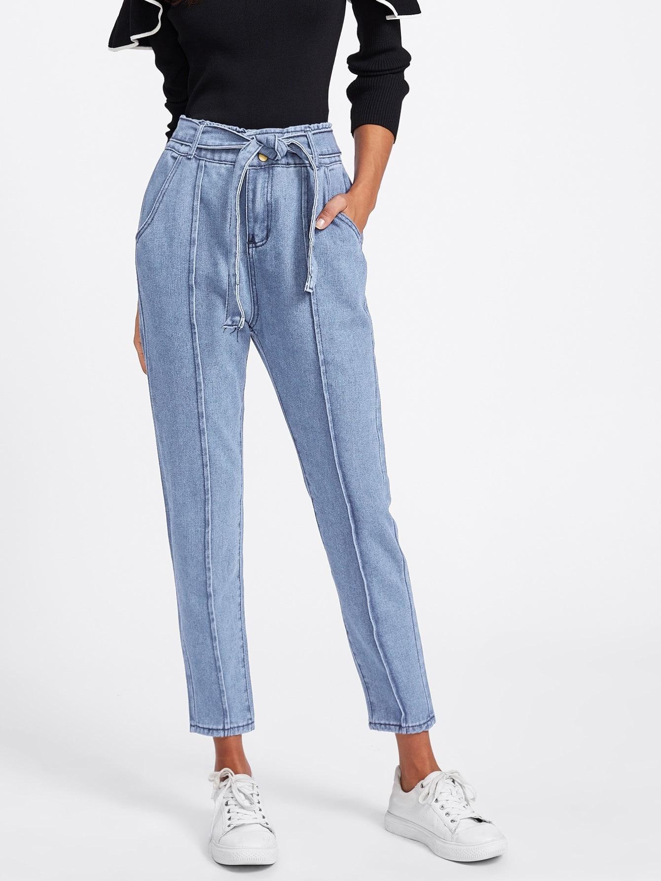 Tie Waist Seam Front Jeans