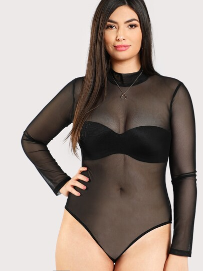 Body de malla con cuello mock