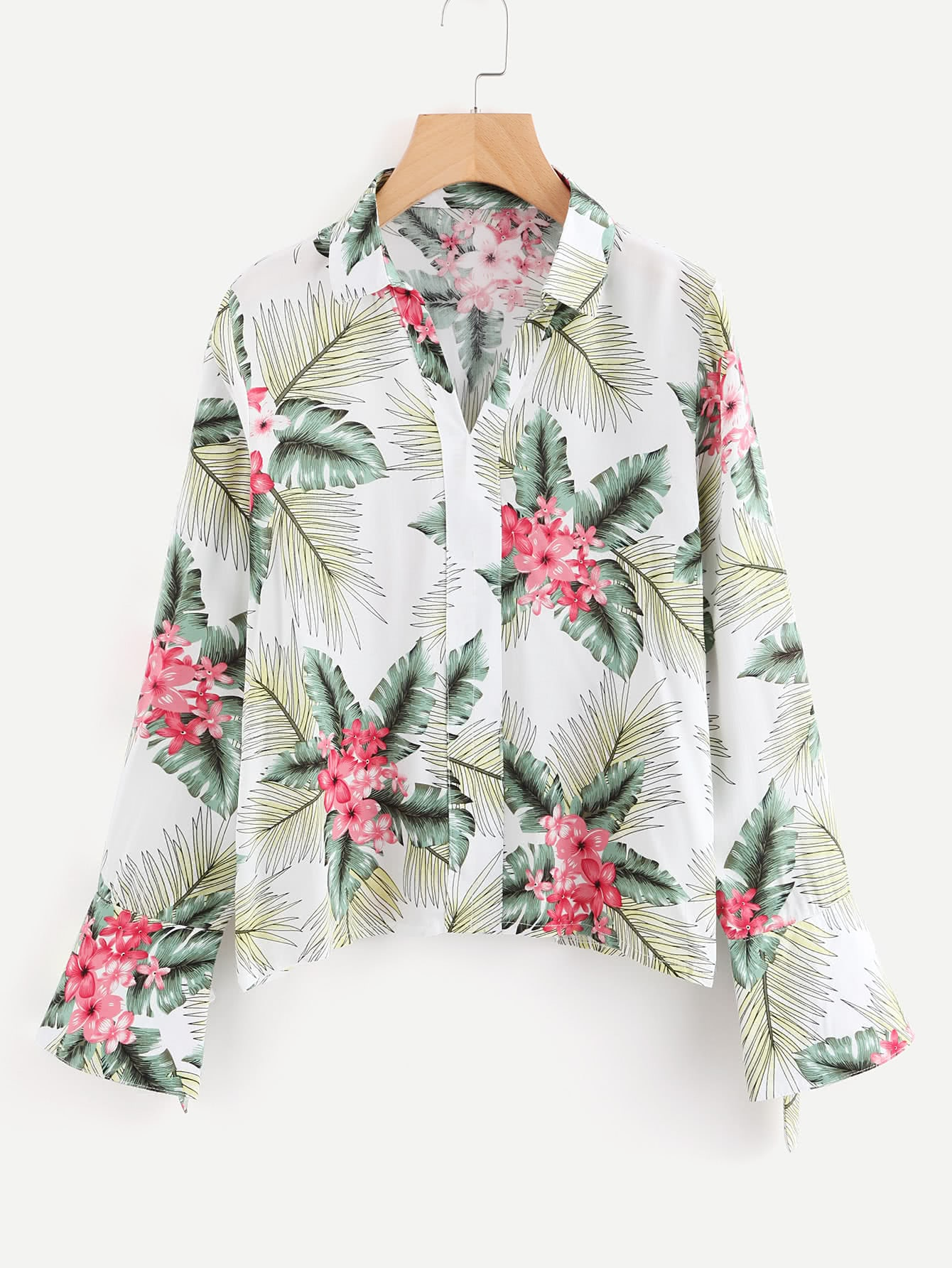 Tropical Print Grommet Tie Detail Shirt drop shoulder grommet tie detail sweatshirt