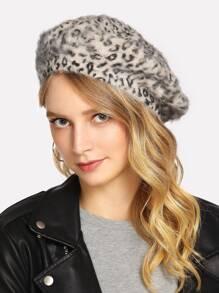 Chapeau béret léopard