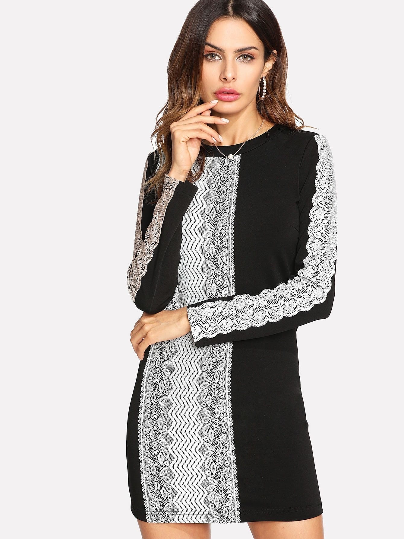 Contrast Lace Applique Fitted Dress Andy Black And White