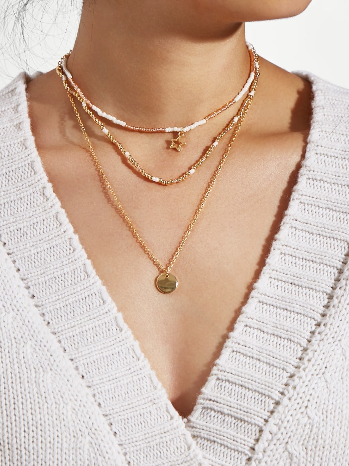 Sequin & Star Layered Chain Necklace Set