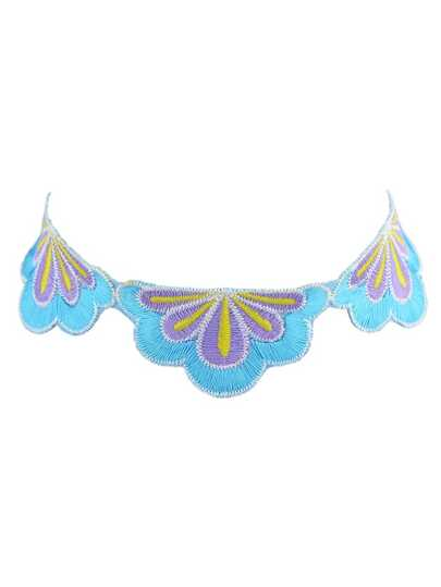 Purple Flower Embroidery Ethnic Maxi Necklace For Women