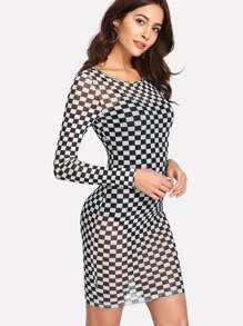 Checker Print Semi Sheer Dress