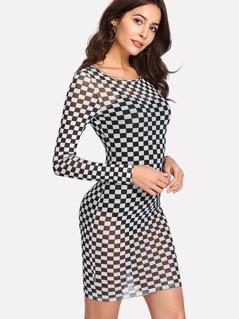 Checker Print Semi Sheer Dress
