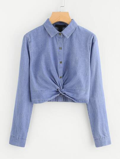 Twist Detail Denim Blouse