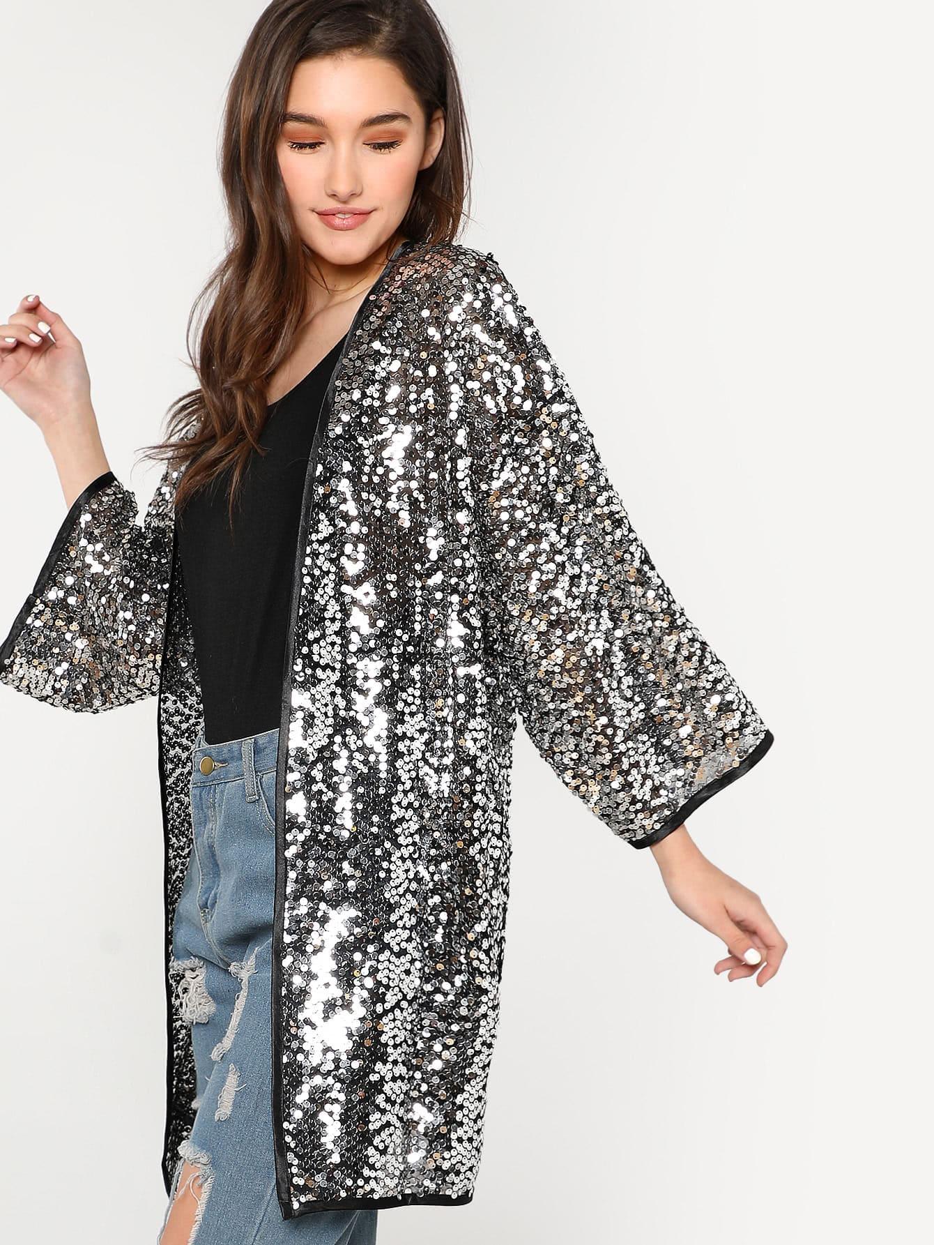 Sequin Kimono Cardigan SILVER -SheIn(Sheinside)