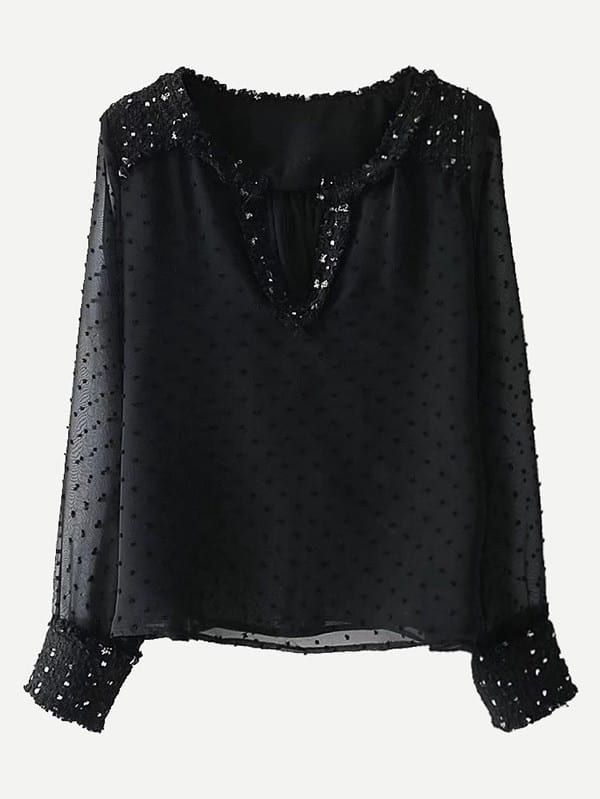 Tweed Trim Dot Textured Blouse frayed trim open front tweed blazer