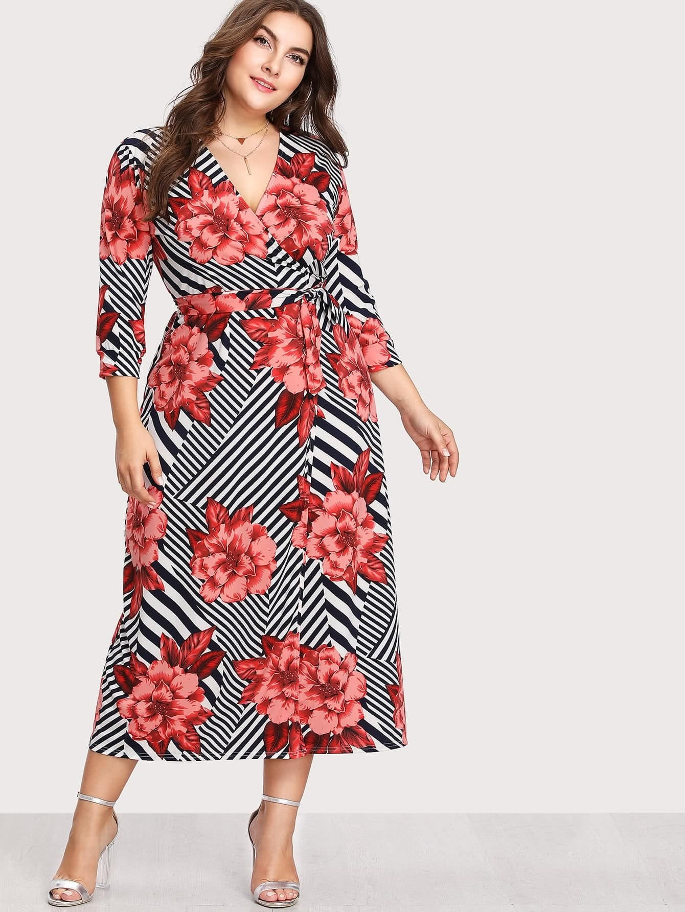 Image of Abstract Stripe Florals Wrap Dress