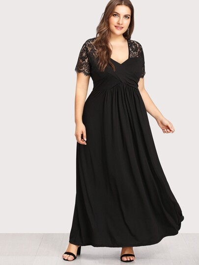 Lace Contrast Longline Dress