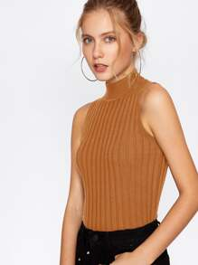 Mock Neck Ribbed Knit Sweater ROMWE