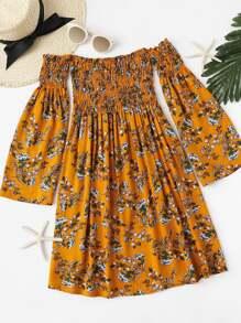 Off Shoulder Floral Print Pleated Dress