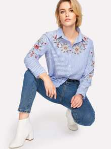 Botanical Embroidered Stripe Blouse