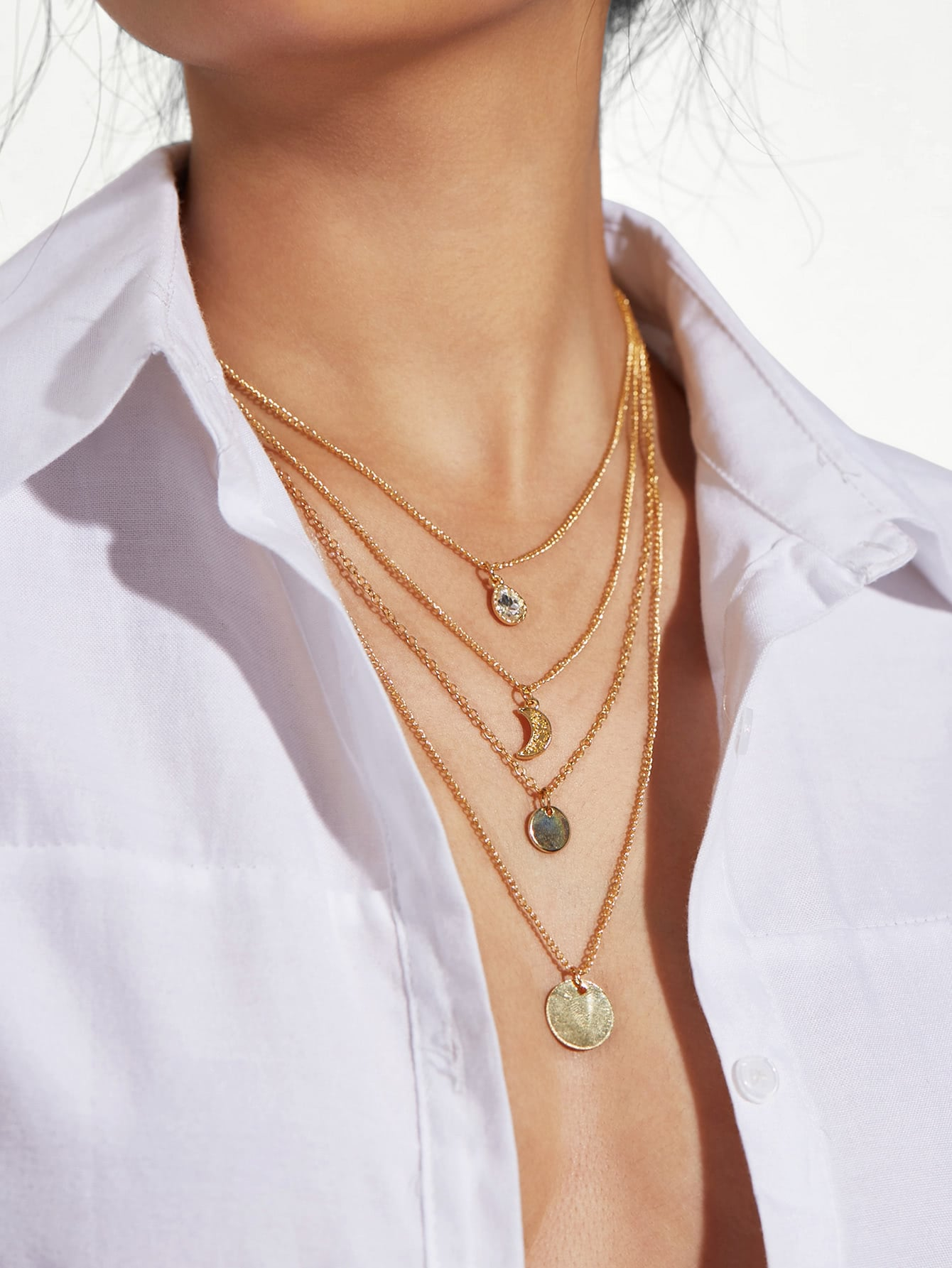 Moon & Sequin Pendant Layered Chain Necklace