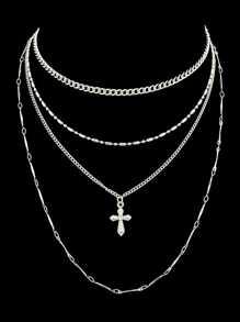Silver Multi Layer Chain Pendant Necklace