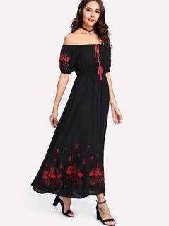 Tasseled Tied Neck Floral Bardot Dress