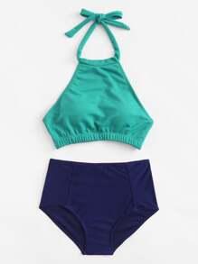 High Neck Backless Bikini Set