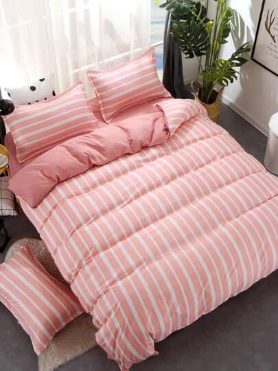 1.5m 4Pcs Simple Striped Print Duvet Cover Set