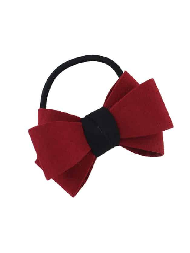 Red Flannel Bowknot Headbands Women Hairwear