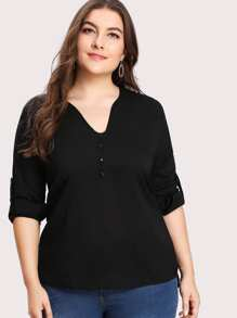 Roll Up Sleeve Button Front Tee