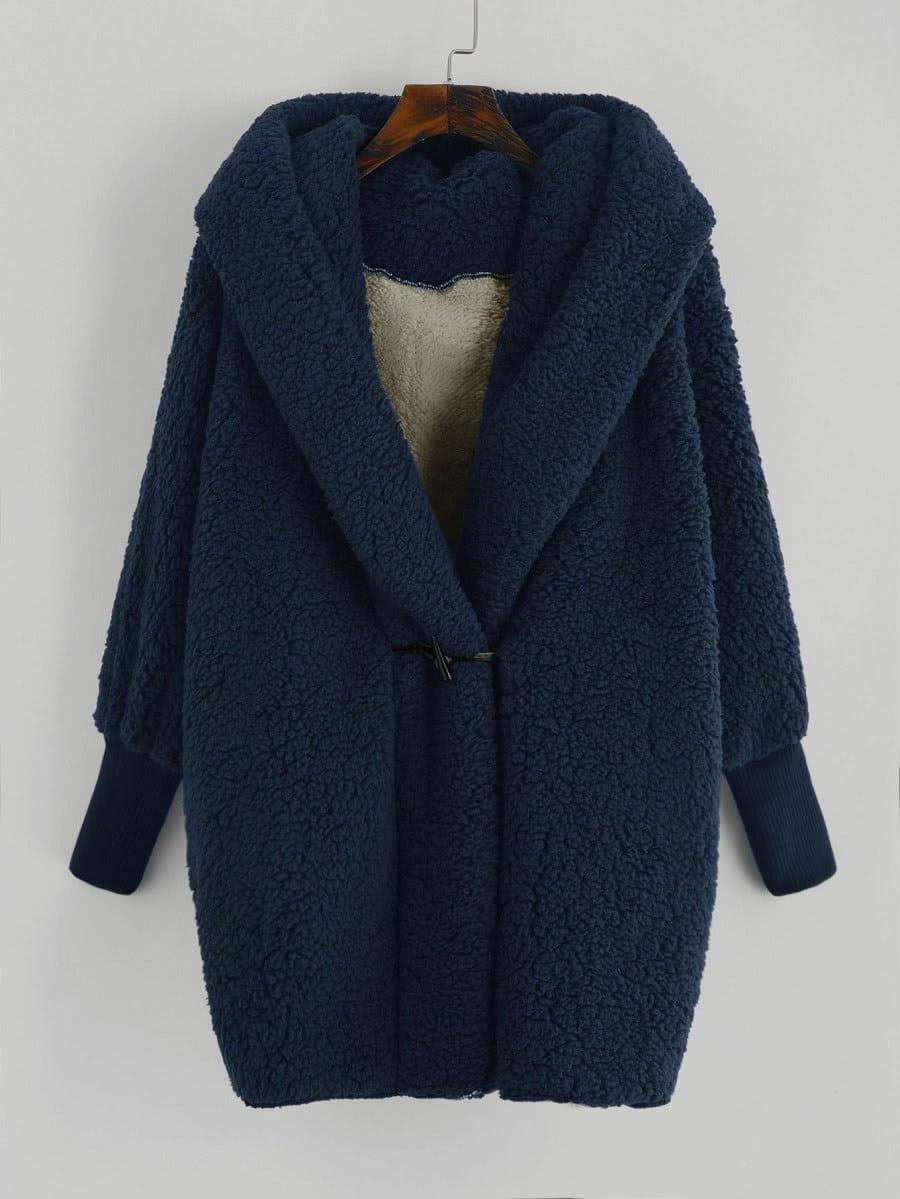 Купить Тедди пальто с капюшоном из искусственной шерсти, null, SheIn