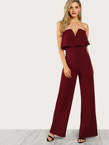 V Notch Two Layer Tube Jumpsuit