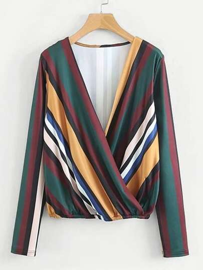 Block Striped Surplice Blouse