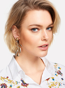Metal Design Drop Earrings