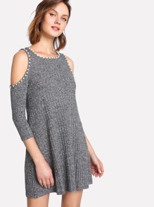 Pearl Beaded Trim Open Shoulder Dress