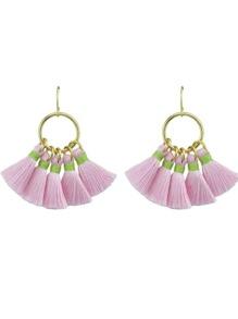 Pink Boho Style Party Earrings Colorful Tassel Drop Earrings