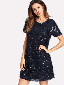 Contrast Sequin Solid Fuzzy Dress