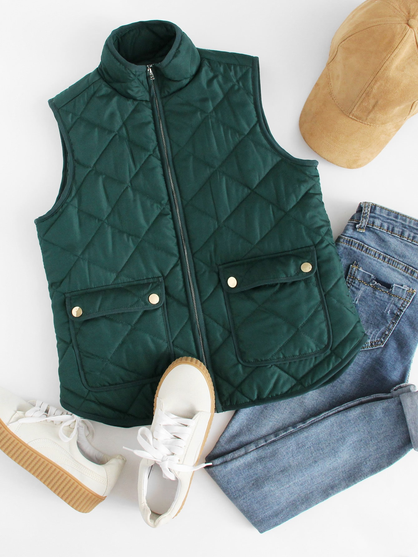 Zipper Quilted Curved Hem Vest ветровка мужская independent chance quilted vest black