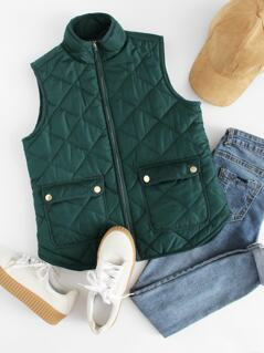 Zipper Quilted Curved Hem Vest