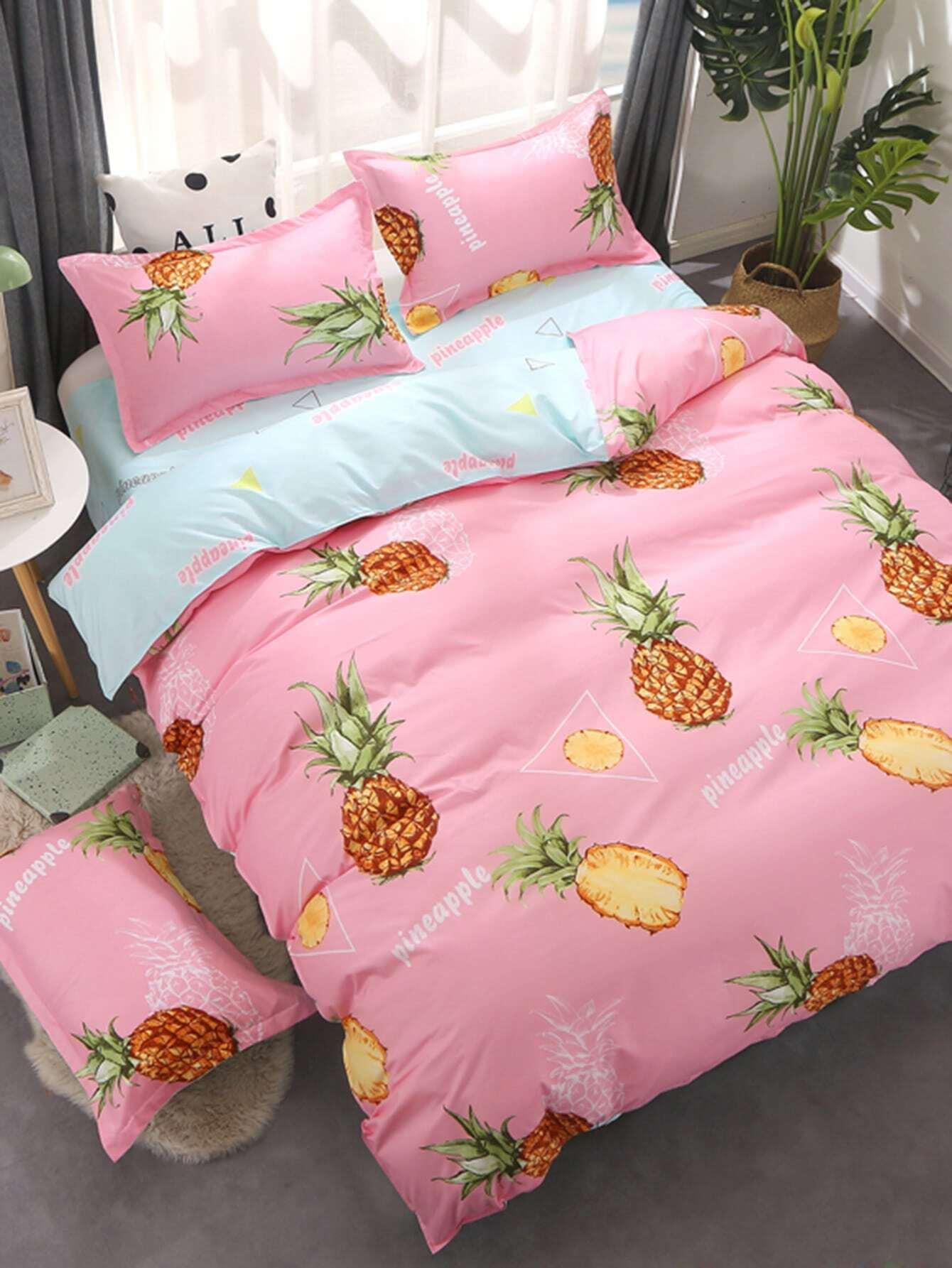 2.2m 4Pcs Pineapple Print Duvet Cover Set
