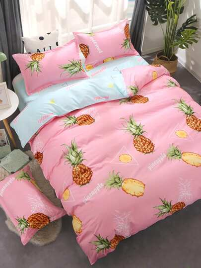 2.2m 4Pcs Pineapple Print Duvet Cover Set