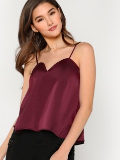 Satin V-Neck Camisole Top BURGUNDY