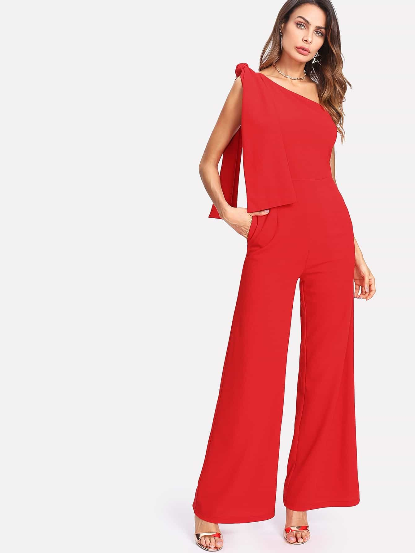 где купить Knot One Shoulder Palazzo Jumpsuit дешево